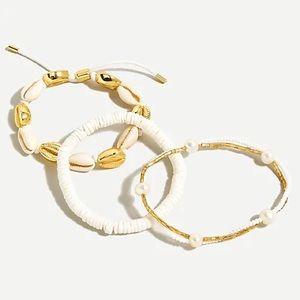 J. Crew Beach Pearl Seashell Bracelet Set of 3 New